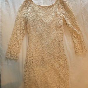 Beige lace bodycon dress